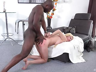 Blondie feels the black stud dominating her ass in merciless XXX