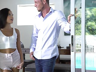 Rubbing clit natural Asian chick Vina Sky enjoys missionary fuck