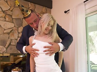 First time step daddy fucks her on her birthday
