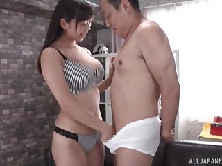 Adorable Kiritani Matsuri pleasures her man with a titjob. HD