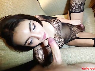 Feminine transgender Sofie is having dirty sex fun with one white man