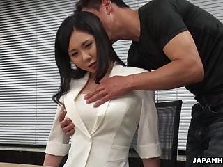 Modest Asian girl Miyuki Ojima is fucked and creampied by horny co-worker