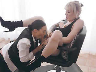 Shemale and a female having office sex - Sinn Sage and Lena Kelly