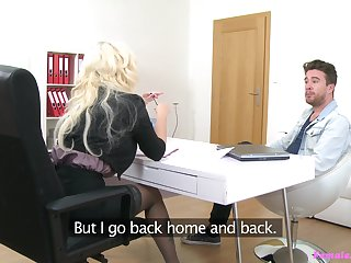 Lady agent Jarushka Ross tests out a young buck in her office