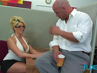 Appetizing looking busty blonde secretary is ready for sensual fuck in the office