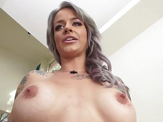 Tattooed blonde in lacy, blue lingerie is eager to have gentle anal sex, until she cums
