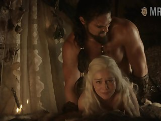 Some rough doggy bed scene with blonde babe named Emilia Clarke