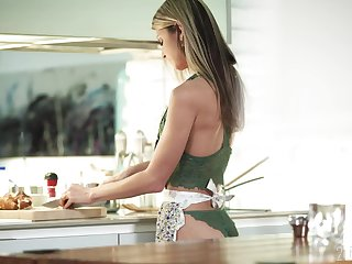 Petite wife Gina Gerson is making love with her husband in the kitchen