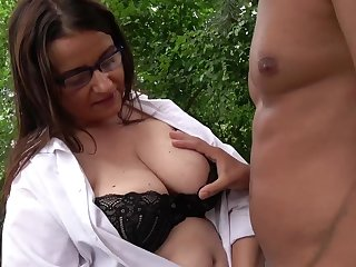 Outdoors fucking between a handsome dude and a mature BBW slut