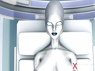 Sexy sci-fi female android fucks an alien