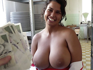 Hot cook with huge tits agreed to lovemaking for money