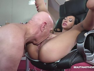 Asian looker sure loves the old man's wood with respect to her cunt