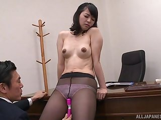 Japanese office lady gets shorn and fucked wide of her boss