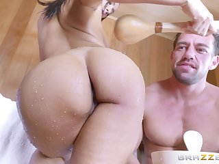 Anal penetration for the busty brunette with a perfect body
